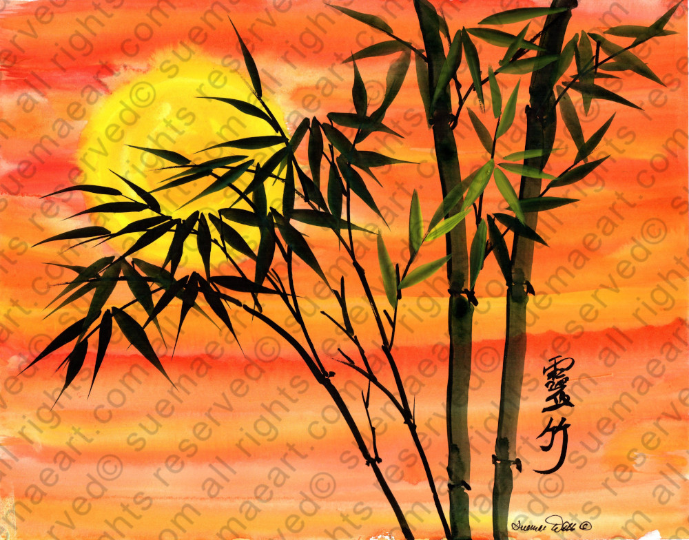 Orange sky with bamboo